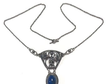 Layaway for Vanessa #4 Antique Arts and Crafts Period Sterling Silver Blue Stone Necklace