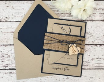 rustic wedding invitation, burlap wedding invitation, navy blue wedding invitation, wooden heart invitation, navy rustic invitation