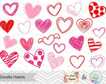 Digital Doodle Heart Clipart, Scrapbooking Hearts Clip Art, Pink Red Doodle Heart Scrapbooking Clipart Valentine's Day Heart Collection 0222