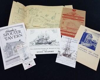 Vtg Mystic Seaport Connecticut Travel Souvenir Memorabilia Map Ticket Ephemera