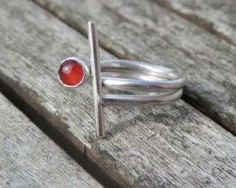 Design sterling silver red carnelian ring