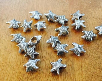 CLOSING SALE 20 pcs Large 5mm Hole Silver Starfish Beads, Antique Silver Starfish Spacers, European Style Starfish Beads, PER 041