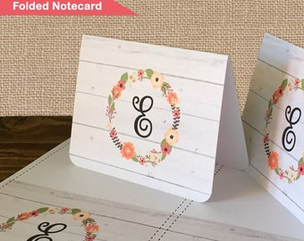 Monogrammed Printable Stationary Notecards - NC004 - floral, country, wood, farmhouse, monogram, diy, stationary cards