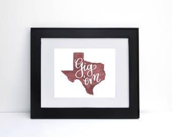Gig Em - Texas A&M Print