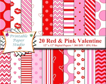 Red, White and Pink Valentines Digital Paper Pack, Valentine Digital Scrapbook Paper, Lips and Hearts Digital Paper Instant Download File