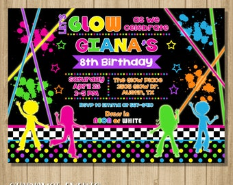 Glow Birthday Invitation, Glow Party Invitation, Glow Invitation, Neon Birthday Invitation, Dance Invitation, Neon Invitation