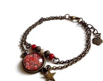 bronze bracelet * Bohemian / hippie chic * red minimalist trend, glass cabochon