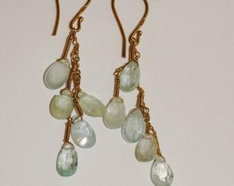 Sterling Silver Genuine Aquamarine Stone Dangling Earrings.