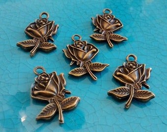 10 bronze roses antique bronze plated charms flowers pendants earrings necklaces jewelry making charms bulk