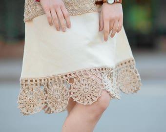 Beige linen crochet skirt, folk skirt, eco skirt, Eco clothing
