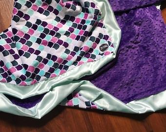 Mermaid Blanket / baby girl crib bedding, nursery blanket, mermaid scales / adult mermaid blanket, satin edges