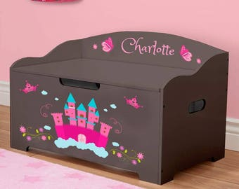 Personalized Dibsies Modern Expressions Princess Toy Box - Brown