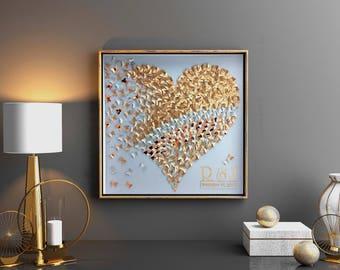 Large Gold butterflies Heart | paper butterflies heart wall art| 3D paper art | Gold Silver butterflies Heart Frame Decor| paper butterfly