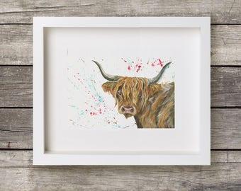 Highland Cow - Colourful Cow Art - Vegan Cow Art - Small Highland Print - Farm Animal décor - Cow Paper Print - Burnt Orange Decor