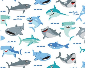 """Sharktown White, Shark Fabric by the yard / """"Sharktown"""" By Shawn Wallace for Riley Blake, C6350 -WHITE / Yardage and Fat Quarters"""