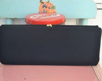 Beautiful Black Crepe Vintage Kiss Lock Frame Clutch Handbag Evening Bag