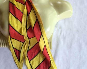 Yellow Orange Scarf,Long Skinny Scarf,Ponytail Scarf,Head Scarf,Mod Scarf,60s Scarf,Skinny Scarf,Bright Stripe Scarf,Long Scarf,Stripe Scarf