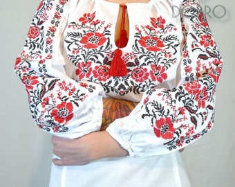ukrainian embroidered blouse vyshyvanka bohemian ethnic shirt boho sorochka for ladies