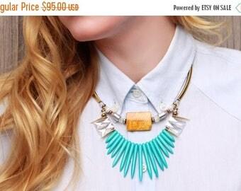 CIJ SALE 30% OFF Sun blue necklace, statement jewelry, trendy jewelry, necklace stone, spike necklace, necklace statement, boho necklace, un