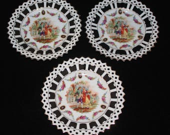 Antique Retriculated German Porcelain Ribbon Plates Courting Scene Set of 3