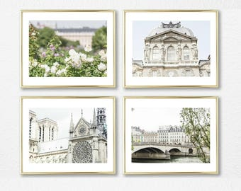 Paris Photography Wall Art // French Art Decor // White Decor Set of 4 Prints // Gallery Wall Prints // French Photography