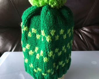 Shades of Green Pom Pom Knit Hat