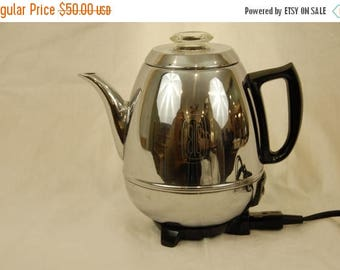 On Sale Vtg GE Electric Pot Belly Automatic Percolator 9 Cup 18P40 w/cord  Made in USA