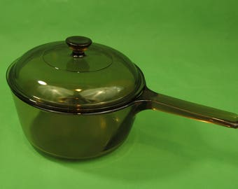 80's Corning Visions Amber  Glass 1.5L Saucepan w/Lid Made In USA