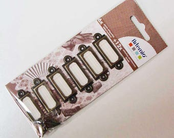 6 PORTE-ETIQUETTES rectangle métal couleur bronze 45mm ARTEMIO cartonnage déco rangement portétiquette