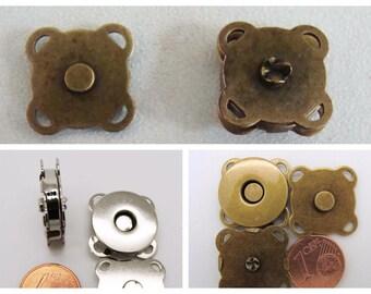 2 FERMOIRS FERMETURES Aimant à coudre 11mm ou 19mm métal couleur bronze ou acier