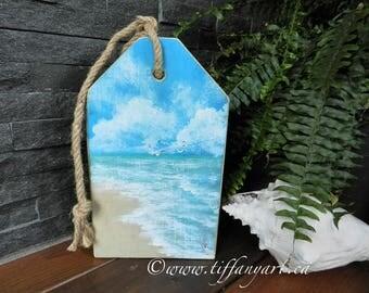Beach decor,Beach wall art,beach art,rustic wood sign,beach painting,sea painting,summer painting,beach house decor front door,ocean decor