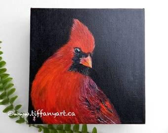 Cardinal painting, Bird painting, Cardinal original painting,  bird painting original, Cardinal decor, Cardinal bird, Red bird, Cardinal art
