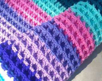 Handmade Pinks, Purples and Blues Soft Crochet Knit Blanket Throw Blanket Chunky Baby Nursery Baby Shower Gift Handmade Ready to Ship