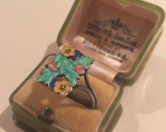 Summer Sale Vintage Silver Enamel ring By Bernard Instone.  Art Deco design piece