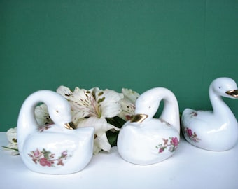 Vintage Swans With Floral Motif and Gold Accents - Set of 3 - Made In China