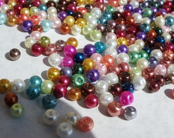 300 mixed 4 mm Pearl glass beads