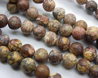 30 Jasper gemstones leopard Jasper 8 mm