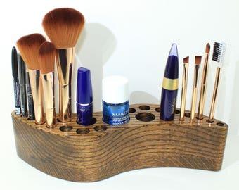 Makeup Brush Holder - Oak Wood - Makeup Organizer - Clockwise Curved Shape - Makeup Display