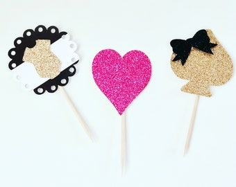 Kate spade cupcake toppers; kate spade bany shower; onsie cupcake topper; heart cupcake topper; bow cupcake topper; black and white stripe