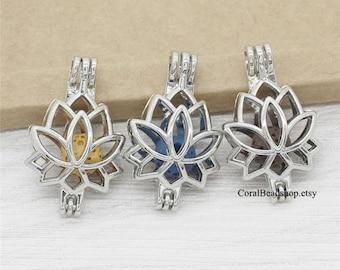 5pcs Lotus Flower Locket Dull Silver Bead Pearl Cage Pendant Aromatherapy Perfume Diffuser Locket Charms-AL022