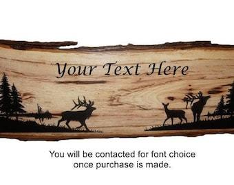 Elk Sign, Elk Decor, Personalized Sign, Rustic Hickory Wood Sign, Rustic Wood Sign, Wood Sign,Rustic Sign,  Engraved Sign