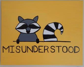 Misunderstood Raccoon Painting
