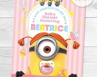 Print It Yourself (Digital Copy) Minions Baby Shower Invitation Pink **