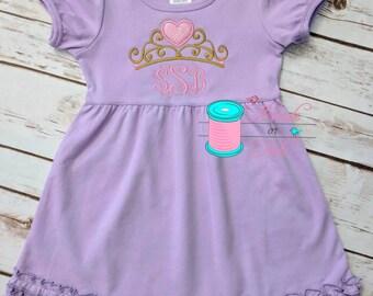 Monogrammed Dress, Princess Crown, Monogrammed Ruffle Dress, Princess Dress, Personalized Dress, Princess Applique