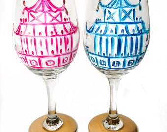 Pagoda Wine Glass Set of Two / Custom Hand Painted Glassware /  Audrastyle / Chinoiserie Blue Pink White Porcelain / Ginger Jar