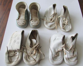 Lot Vintage 4 Pr Shabby  Baby Shoes Repurpose Well Worn