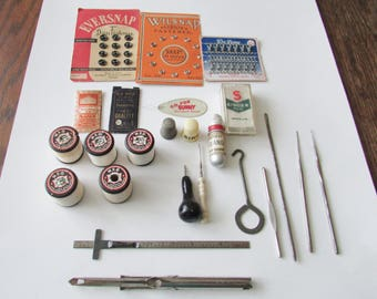 Vintage Lot Sewing Notions Singer Needle Box Punch Spools Advertising Sewing Case  Singer Thimble