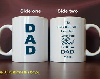 Christian Dad Coffee Mug Gift, Daddy Thank you Birthday Gift from Son, Fathers Day Custom Papa Christmas Mug Gift from Daughter, MDA011