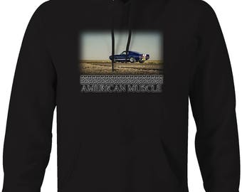 American Muscle Blue White GT500 Racing Muscle Car  Hooded Sweatshirt- 5086