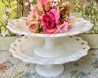 Milk Glass Bowl Milk Glass Candy Dishes for Wedding Centerpiece Bowl Pedestal Bowl Candy Buffet Dessert Table Cake Stand Lace Milk Glass